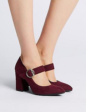 Block Heels Court Shoes, BURGUNDY, catlanding