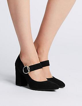 Block Heels Court Shoes, BLACK, catlanding
