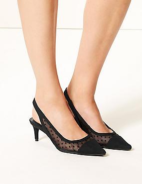 Kitten Heel Slingback Court Shoes , BLACK, catlanding