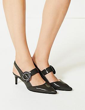 Patent Kitten Heel Buckle Slingback Court Shoes, GREY, catlanding
