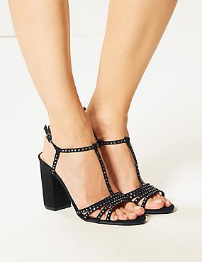 Block Heel Diamanté T-Bar Sandals , BLACK, catlanding
