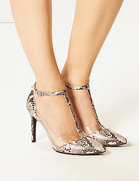 Stiletto Heel Perspex T-Bar Court Shoes, GREY MIX, catlanding