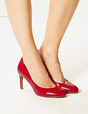 Stiletto Heel Almond Toe Court Shoes, RED, catlanding