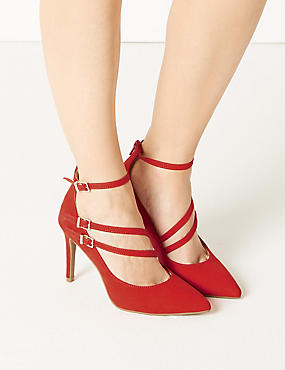 Stiletto Heel Pointed Court Shoes, FLAME, catlanding