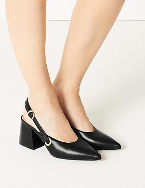Statement Heel Pointed Slingback Shoes, BLACK, catlanding