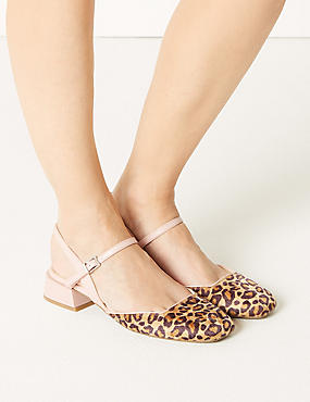 Block Heel Strap Slingback Shoes, BROWN MIX, catlanding
