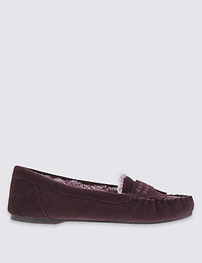 Suede Faux Fur Moccasin Slippers