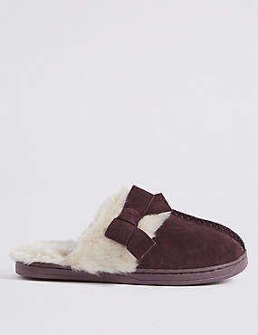 Suede Bow Mule Slippers