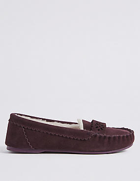 Suede Laser Cut Moccasin Slippers