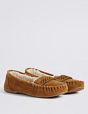 Leather Laser Cut Moccasin Slippers