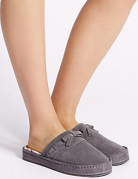Suede Stitch Bow Moccasin Slippers, GREY MIX, catlanding
