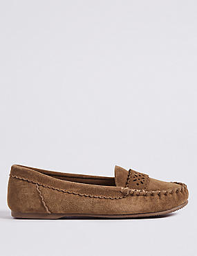 Suede Laser Detail Moccasin Slippers