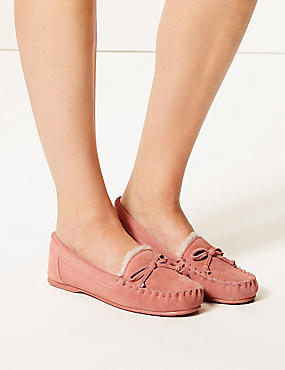 Suede Moccasin Slippers, PINK, catlanding