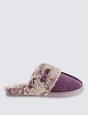 Freshfeet™ Suede Faux Fur Trim Mule Clogs with Silver Technology