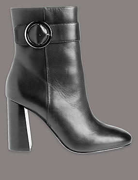 Leather High Ring Ankle Boots with Insolia®