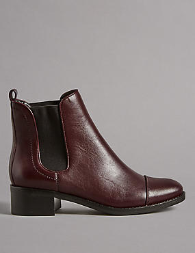 Leather Block Heel Chelsea Ankle Boots
