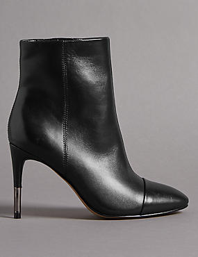 Leather Stiletto Heel Toe Cap Ankle Boots