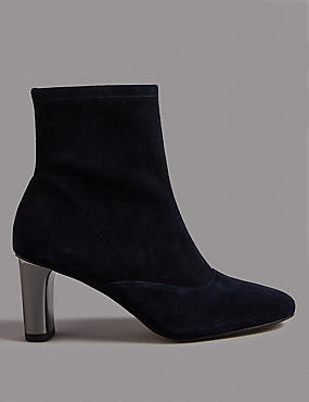 Suede Side Zip Stretch Feature Ankle Boots