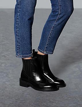 Leather Block Heel Chelsea Ankle Boots, BLACK, catlanding