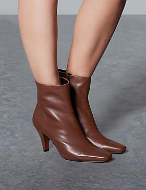 Leather Square Toe Ankle Boots, RUST, catlanding