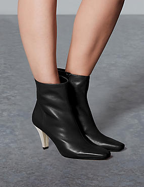 Leather Square Toe Ankle Boots, BLACK, catlanding