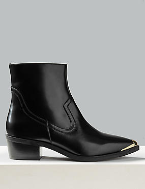 Leather Block Heel Metal Toe Ankle Boots, BLACK, catlanding