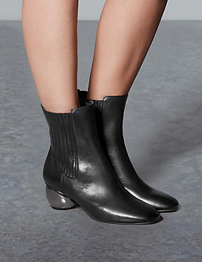 Leather Ankle Boots, BLACK, catlanding