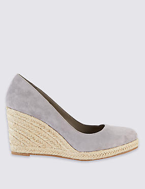 Leather Wedge Heel Almond Toe Espadrilles