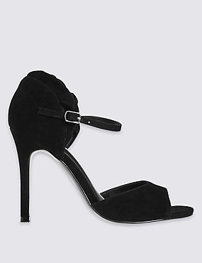 Suede Stiletto Ruffle Sandals