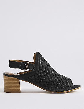 Leather Weave Slingback Sandals