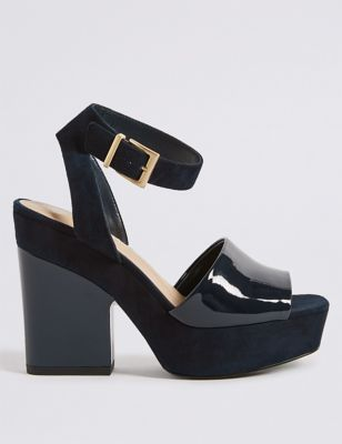 Leather Block Heel Two Part Sandals by Marks & Spencer