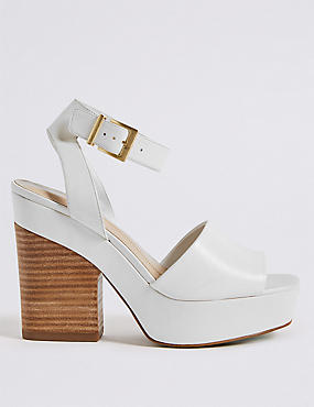 Leather Block Heel Two Part Sandals