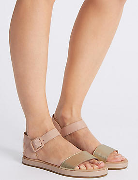 Leather Two Band Sandals , BLUSH, catlanding