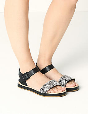 Leather Two Band Sandals , BLACK MIX, catlanding