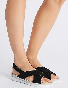 Suede Cross Strap Sandals, BLACK, catlanding