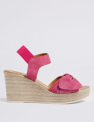 Suede Wedge Heel Bow Espadrilles by Marks & Spencer