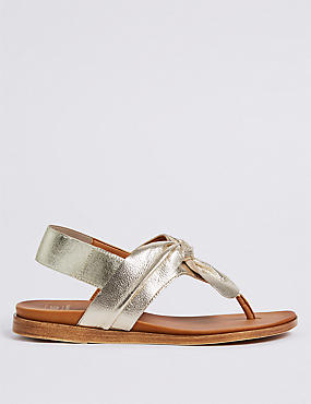 Leather Knot Toe Thong Sandals , GOLD, catlanding