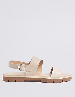 Leather Two Band Sandals, NEUTRAL, catlanding
