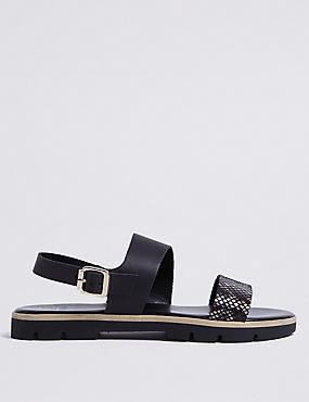 Leather Two Band Sandals, BLACK MIX, catlanding