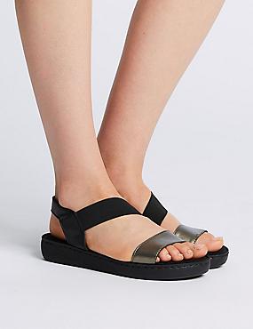 Leather Asymmetric Sandals, BLACK MIX, catlanding