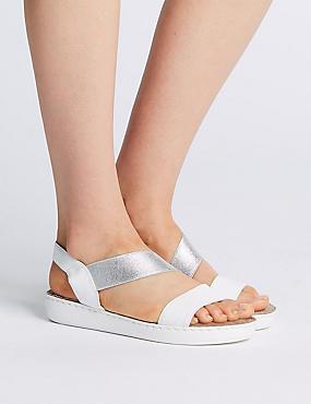 Leather Asymmetric Sandals, WHITE MIX, catlanding
