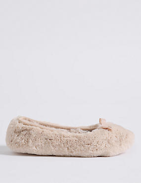 Faux Fur Ballerina Slippers