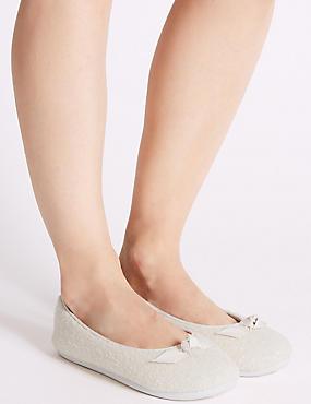 Sequin Bow Detail Ballerina Slippers, CREAM MIX, catlanding