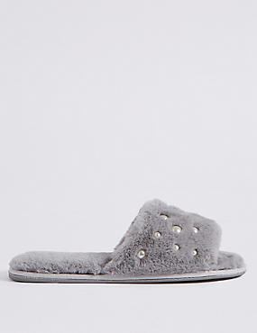 Pearl Detail Fur Mule Slippers