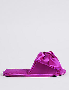 Satin Bow Open Toe Mule Slippers