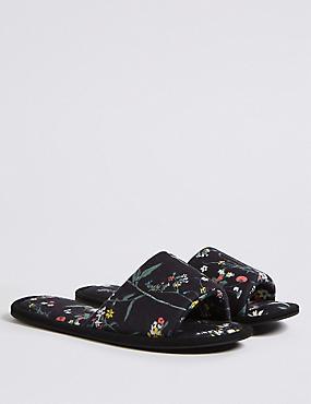 Floral Print Mule Slippers , BLACK MIX, catlanding