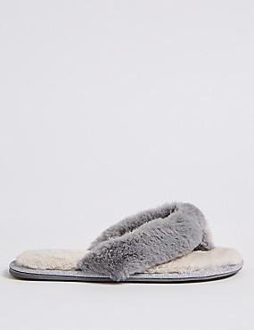 Faux Fur Toe Thong Mule Slippers, GREY MIX, catlanding