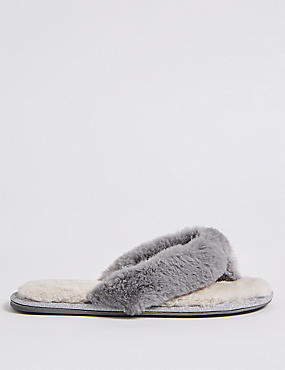 Faux Fur Toe Thong Mule Slippers