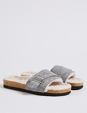Faux Fur Buckle Slide Mule Slippers, GREY MARL, catlanding