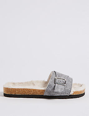 Faux Fur Buckle Slide Mule Slippers